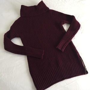 Turtleneck Maroon Side Zip Sweater Size S